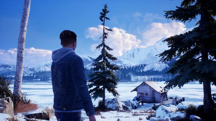 Tyler betrachtet die schneebedeckten Berge